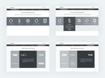 Disqus.com Wireframes disqus web wireframes interface marketing landing flat simple icons logos