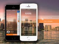 Dribble Ask gloss transluscent transparency blur ios7 log in slide menu iphone 5s flat crystal