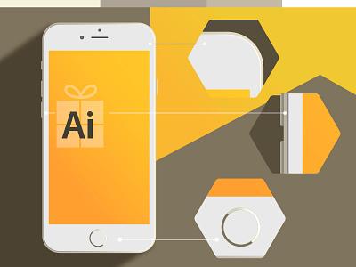 Iphone 6 Free Vector vector free mockup illustration flat gold app long shadow blur shadow illustrator iphone 6