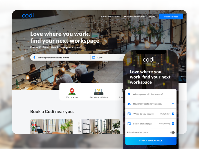 Codi | Airbnb for Coworkings Design Proposal ui design ui  ux uiux map listings onboarding user experience user interface ui clean coworkers coworking space workspace reservation book cowork work coworking booking airbnb