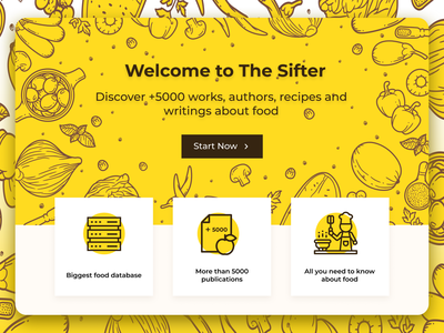 The Sifter | A Wikipedia for Food | PengYi Labs search wikipedia foodie sandwich pizza hamburger food illustration food web design website design website design eat coffee yellow brown