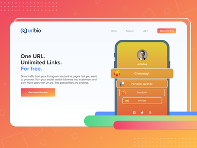URLbio by Kicksta Landing Page Detail tiktok instagram landing page web designer web design influencer social kicksta marketing orange colorful