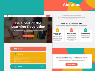 Mr Schooler British Online Kids Education user interface ui design web design kids school yellow orange turquoise colorful learning platform learn learning online education
