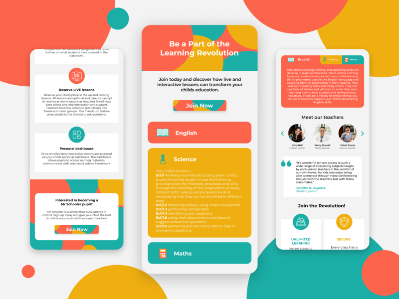 Mr Schooler British Online Kids Education yellow school kids user interface design user interface ui user interface ui turquoise orange education learning platform learning colourful