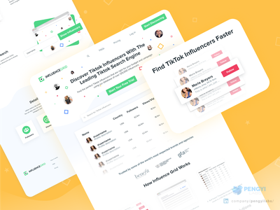 Influence Grid by Kicksta | Discover TikTok influencers Website avatar facebook instagram vuejs bulma system design yellow dashboard web design colorful social network social media design social media social influence influencers tik tok tiktok