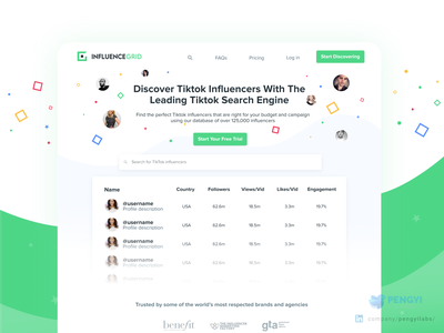 Influence Grid by Kicksta | Discover TikTok influencers Website social media influencers influence social bulma vuejs landing page website design website design green dashboard yellow design system tik tok tiktok twitter instagram facebook avatar
