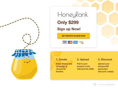 HoneyRank Amazon Keyword Rating Website Design landing page concept landing page design landing pages landing page orange yellow bee honey web design design website shop store online online store amazon sellers keywords keyword amazon