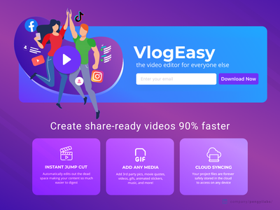VlogEasy Fast Video Editor with Jump Cut Design dark pink colorful purple landing pages landing page design landing page web design cut iphone ipad mobile editor camtasia after effects adobe premiere final cut video editor video