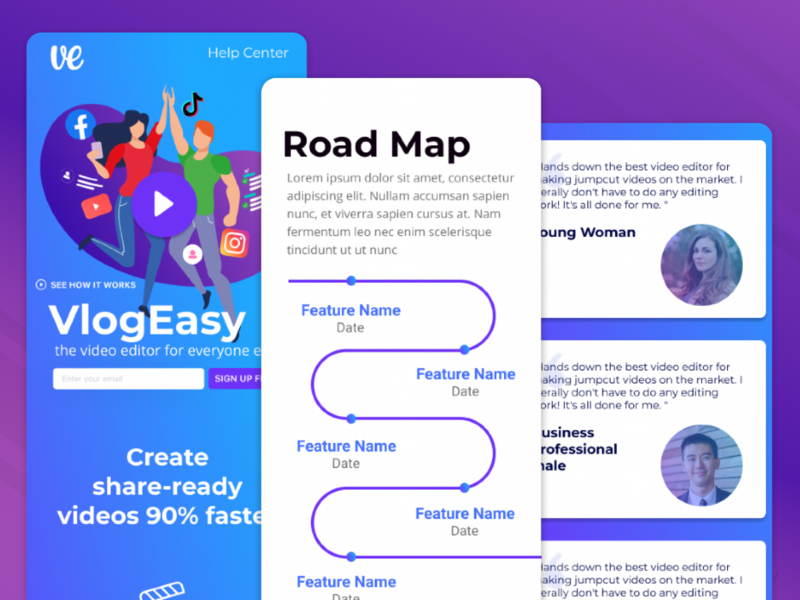 VlogEasy Fast Video Editor with Jump Cut Design purple pink mobile video editor editor final cut pro final cut premiere after effects adobe landings landing page web web design