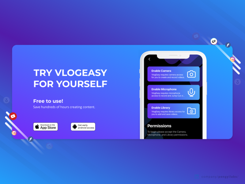 VlogEasy Fast Video Editor with Jump Cut Design robmoya pengyilabs purple pink mobile premiere final cut pro final cut after effects adobe editor video video editor web designer landings landing page web design