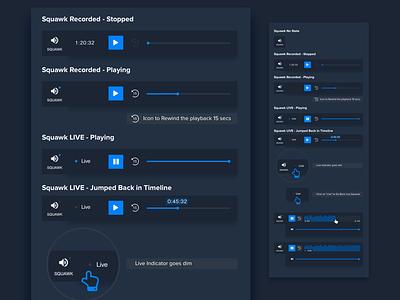 Squawk Player Controls Documentation playback stream streaming player video audio fintech finance blue specs styleguide docs