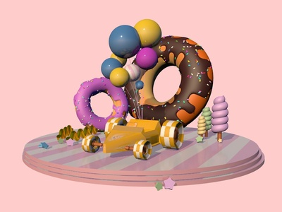 car with donuts
