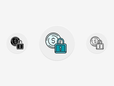 Coin Lock Icons Set
