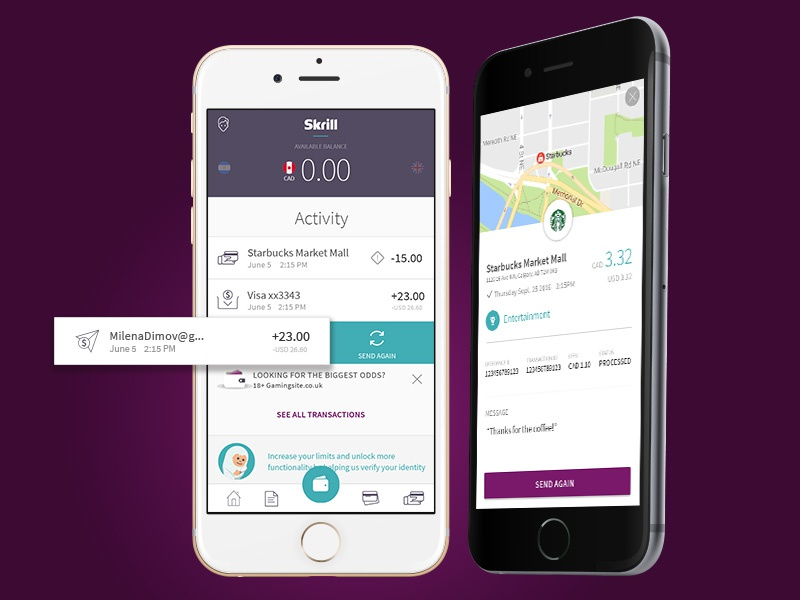 New Skrill wallet Dashboard by Mila Dimow on Dribbble
