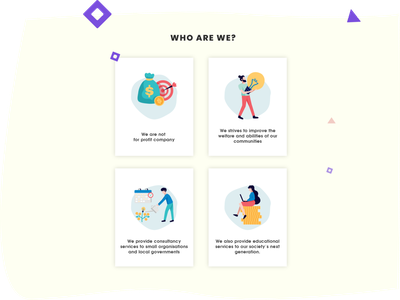ALTRUISTIC IMPACT WEBSITE ABOUT US CONTENT uidesign illustration illustrator adobe xd about us