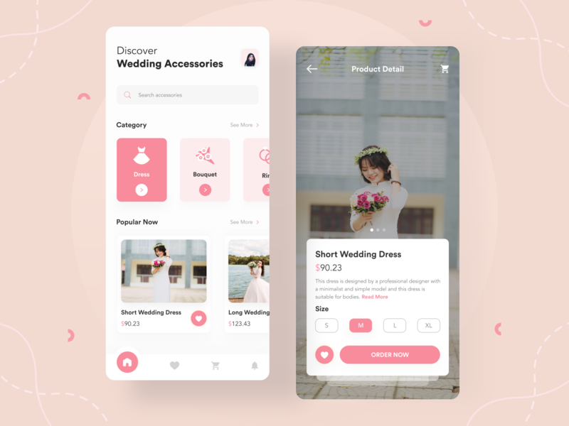 Wedding App Exploration 👰 married marry ecommerce app shopping app shopping shop ecommerce clean pink ui uiux accessories app ring bouquet dress wedding app wedding card wedding app design app