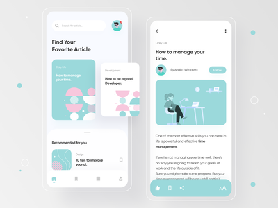 Article App Exploration 📕 ui illustration writer article design medium book app uiux appdesign app writing reading app reading read bookmark blog post blog article page art articles article