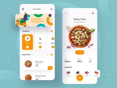 Food Delivery App 🍕 shopping pizza app uidesign food app ui delivery delivery app food delivery app restaurant uiux ui delivery service food app food and drink mobile app food delivery application clean simple eat restaurant app food delivery