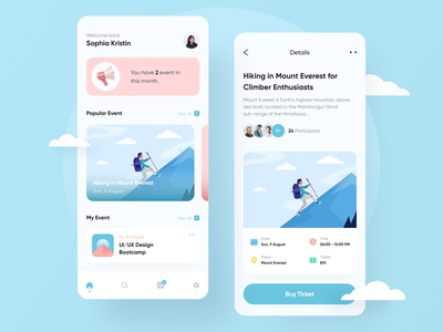 Event App booking app ticket booking concert travelling community app 3d ticket app events event flyer event app event colorfull minimalist simple ui uidesign clean uiux