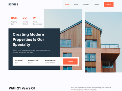 RSTATES - Real Estate Landing Page design agent property search architecture interior agency home real estate agent real estate property landing page design homepage web design website landing page minimalist simple ui uidesign uiux