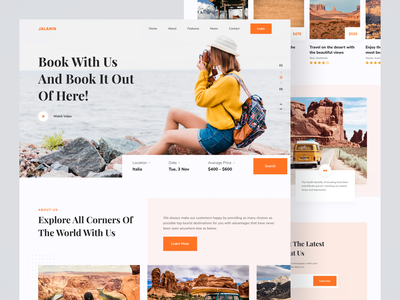 Jalanin - Travel Landing Page agency travelling explore flight app hotel adventure trip booking destination vacation travel agency travel app homepage landing page website web design travel clean simple uiux