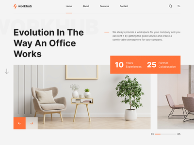 WorkHub - Workspace Landing Page agency home office interior furniture coworking landing page workspace landing page work workspace coworking design homepage landing page web design website web minimalist simple clean uiux