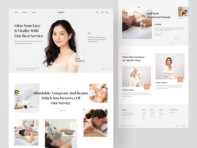 URBAN - Spa & Beauty Landing Page fashion landing page beauty clinic service minimalist fashion girl cosmetics surgery spa landing page beauty landing page salon beauty salon treatment uiux website design landing page website beauty app beauty spa