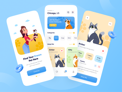 Pet Adoption App minimalist social animal food pet store pet rescue minimal dog app cat animal adoption pet adoption pet adopt pet app petshop pet care pet mobile uidesign uiux