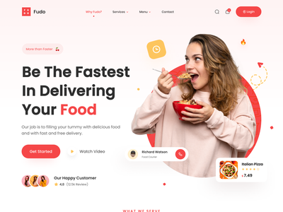 Fudo - Food Delivery Landing Page 🍕 delivery app burger pizza app food delivery service chef app food order eating eat food and drink restaurant app food app web design website recipe app uiux landingpage food delivery landing page food delivery food delivery app food