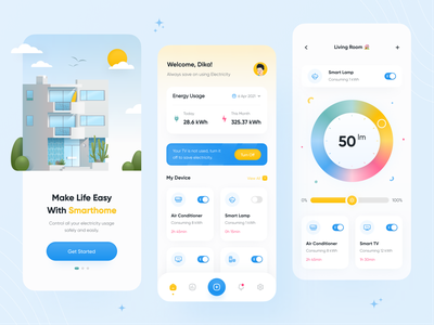 Smart Home App mobile energy usage device monitoring home monitoring home app house clean ui app uiux smart app electronic electricity electric devices home consumption smart energy smarthome