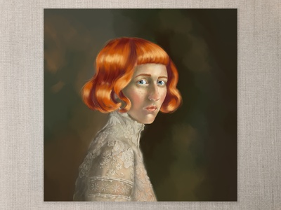 Hair like Fire blue eyes red hair freckles pink cheeks lace photoshop digital painting digital art cape town art illustration
