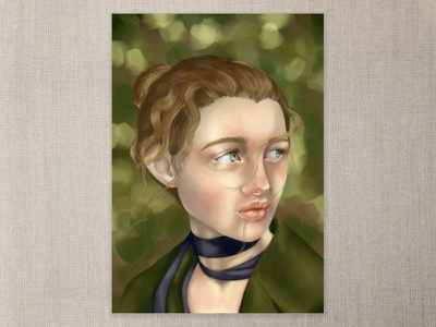 In the Garden coat greens photoshop digital painting digital art curly hair green eyes cape town art illustration