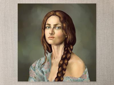 Hadassah photoshop digital painting digital art natural beauty braid brunette shawl cape town art illustration