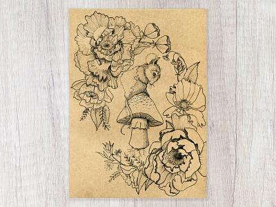 Little Mouse sketch flowers mushroom mouse pen and ink details design cape town art illustration