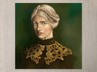 Golden Girl digitalpainting digitalart strong light golden collar gold queen braided crown blueeyes blonde portraitpainting portraiture