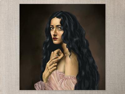 Longing portrait art portrait digitalart digital painting photoshop art photoshop longing raven hair red lips hands ribbon lace pink princess dress amber golden eyes natural beauty