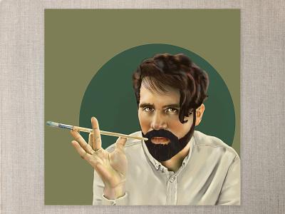 Pablo color hand photoshop painting photoshop digitalpainting digitalart beard button up paintbrush artist portrait male portrait portrait commission