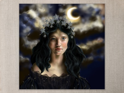 Night Personified fantasy art digitalart cape town portrait beauty night moon star crown stars black lace cloudy night moonlight strong light