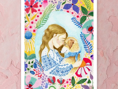 Sometimes all you need is love folk clothing blonde hair pink dog illustration pattern flowers watercolor art cape town a5 design illustration