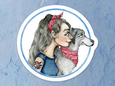 Dog Mom denim red lipstick tattoos dog art silver fox red grey sticker design dog illustration dog mom dog portrait watercolor painting watercolor cape town art illustration