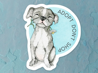 Adopt, Dont Shop happiness pencil sketch daisy blues grey sticker dog illustration puppy pitbull watercolor painting flowers watercolor design cape town art illustration