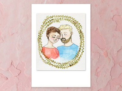 Happy Days together forever wreath tenderness love anniversary couple blonde hair chestnut brown portrait watercolor painting a5 watercolor design cape town art illustration