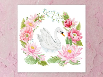 Swan Song lilypad lake forest animals swan song swan blue poppies water lily lotus flower pink design details flowers watercolor painting watercolor cape town art illustration