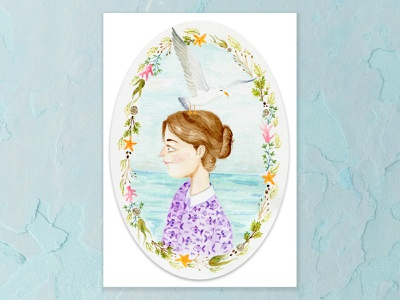 What to do when a seagull lands on your head? purple seaside tiny fish seaweed coral seashells starfish seagull design chestnut brown details portrait watercolor painting a5 watercolor cape town art illustration