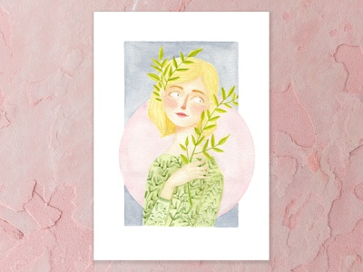 Olive Branch blush grey pink moon olive branch olive green details blonde hair watercolor painting pink a5 design watercolor cape town art illustration