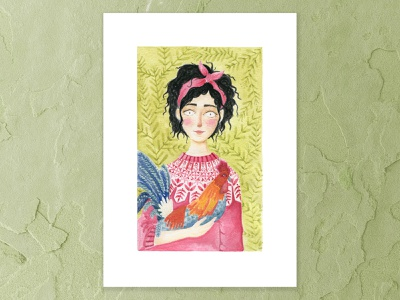 My pet rooster pet rosey cheeks olive green red jumper rooster raven hair details portrait watercolor painting a5 design watercolor cape town art illustration