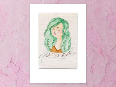 Never Stop Growing texture growth mindset peace vines plant woman green hair go green pink watercolor painting a5 design watercolor cape town art illustration