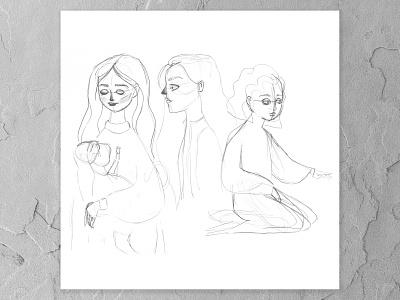 Character design sketch sketchbook figure drawing progress watercolor painting design cape town art illustration