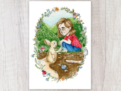 Making Friends sketch capetown garden insects moth mouse worm teacup story childrens illustration child rabbit chestnut brown flowers watercolor painting design watercolor art illustration
