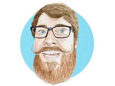 Waldo frames glasses moustache gingerbread blue commision profile pic profile picture ginger beard chestnut brown portrait watercolor painting design watercolor cape town art illustration
